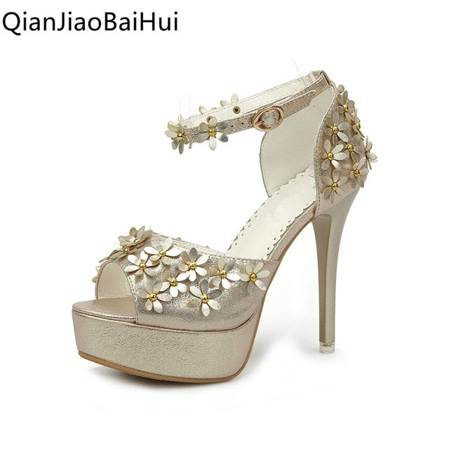 habazoo - Women Flower Sandals Gold Silver Super High Heel Platform Strappy Sandals Female Club Party Heels Open Toe Pumps - Habazoo -