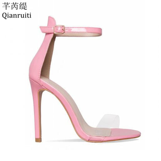habazoo - Pink Gold Red Patent Leather Women Pumps Open Toe Ankle Buckle Strap Women Sandals Clear PVC High Heels Women Shoes - Habazoo -