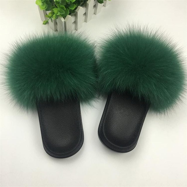 habazoo - Real Fur Slippers Women Fox Home Fluffy Slides - Habazoo -