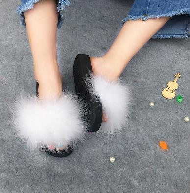 habazoo - Real Raccoon Fur Slippers Women 2018 Sliders Casual Fox Hair Flat Fluffy Fashion Home Summer Big Size 45 Furry Flip Flops Shoes - Habazoo -