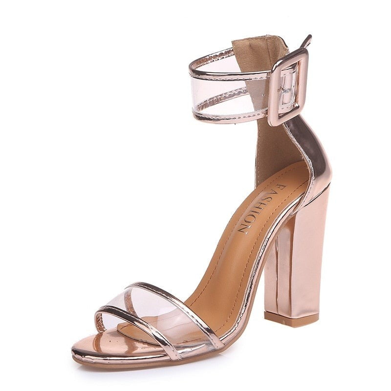 habazoo - gold pink thick high heels sandals women fashion ankle strap open toe pumps woman plus size 34-43 party wedding shoes - Habazoo -