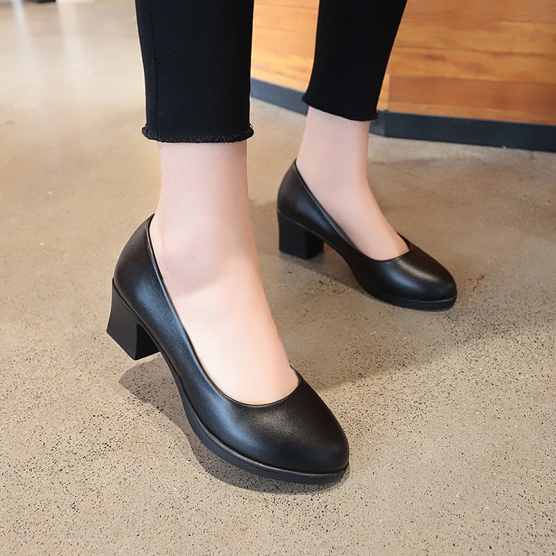 habazoo - Rimocy office lady classic black leather pumps 2019 spring 5cm square heels slip on working shoes woman casual all match sandals - Habazoo -