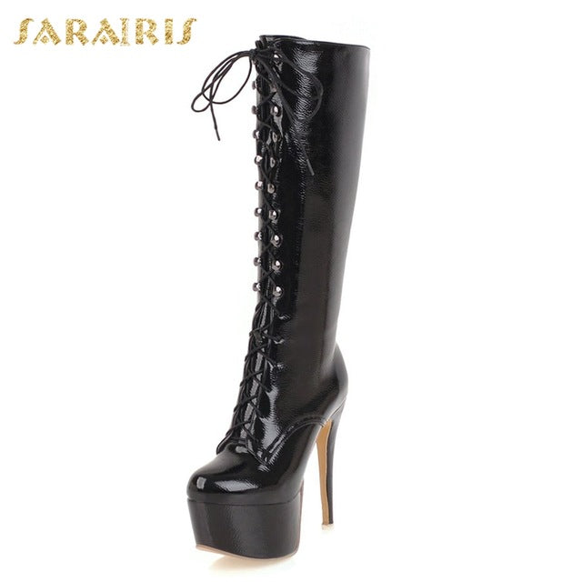 habazoo - SARAIRIS 2018 Plus Size 33-48 Zip Up Platform Boots Woman Shoes Thin High Heels Knee High Boots Women Shoe Women - Habazoo -