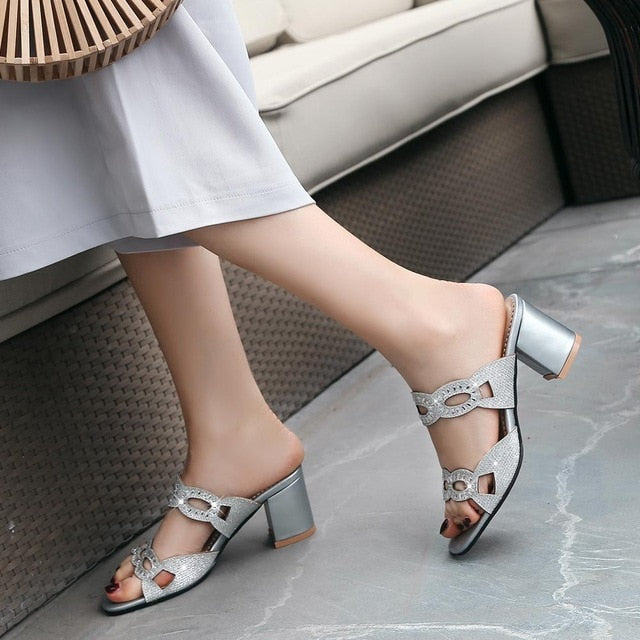 habazoo - Women Sandals High Heels Shoes Summer Peep Toe Woman Sandals Thick Heel Black Gold Silver Party Shoes - Habazoo -