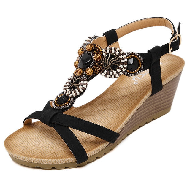 habazoo - National Sandals Bohemia Beaded Comfortable Wedges Shoes Summer Soft Bottom Casual Women Sandals - Habazoo -