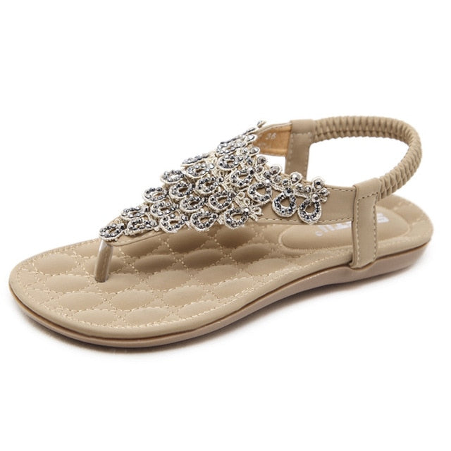 habazoo - Ladies Sandals Summer Ethnic Bohemian Flowers Rhinestone Popular Element Flat with Ladies Sandals - Habazoo -