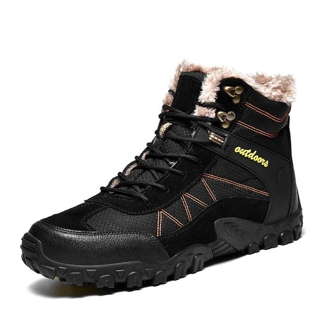habazoo - Winter Men's Boots Outdoor Warm Waterproof Non-slip Ankle Snow Boot Thick Plush Rubber Winter Work Safety Male Shoes - Habazoo -