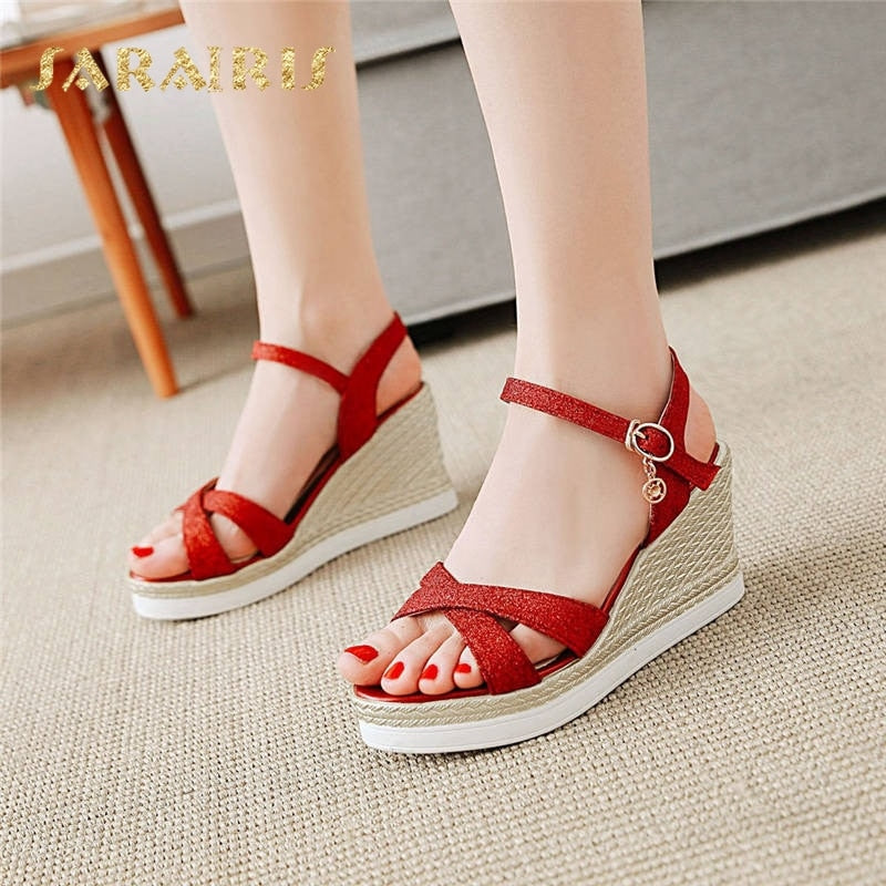 habazoo - SaraIris Popular High Heel Wedges Open Toe Ankle Strap Buckle Up Summer Shoes Woman Sandals Black Red Gold Silver - Habazoo -