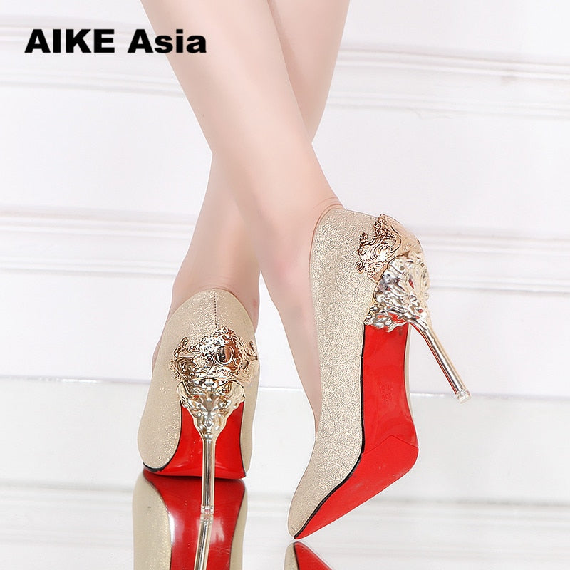 habazoo - Sexy High Heels Shoes Woman Pumps Red Gold Silver High Heels Shoes Woman Ladies Wedding Party Shoes 2018 Fretwork - Habazoo -
