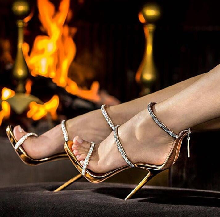 habazoo - Sexy gold high heels open toe ankle strap heels sandals beautiful women pumps stilettos sparkle rhinestone pumps shoes lady - Habazoo -