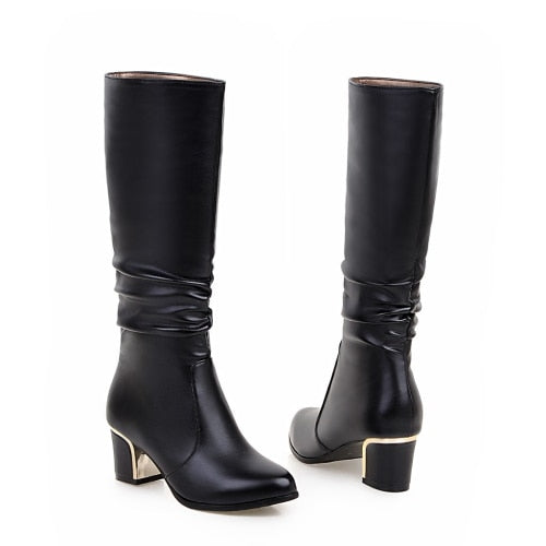 Short boots white women with thick boots long autumn and winter was thin Jane Martin high simple boots Plus size 33-43