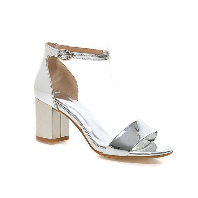 habazoo - Patent PU Open Toe Woman Summer Shoes Silver Gold Pink Buckle Strap Block High Heels Women Sandals Plus Size 44 45 - Habazoo -