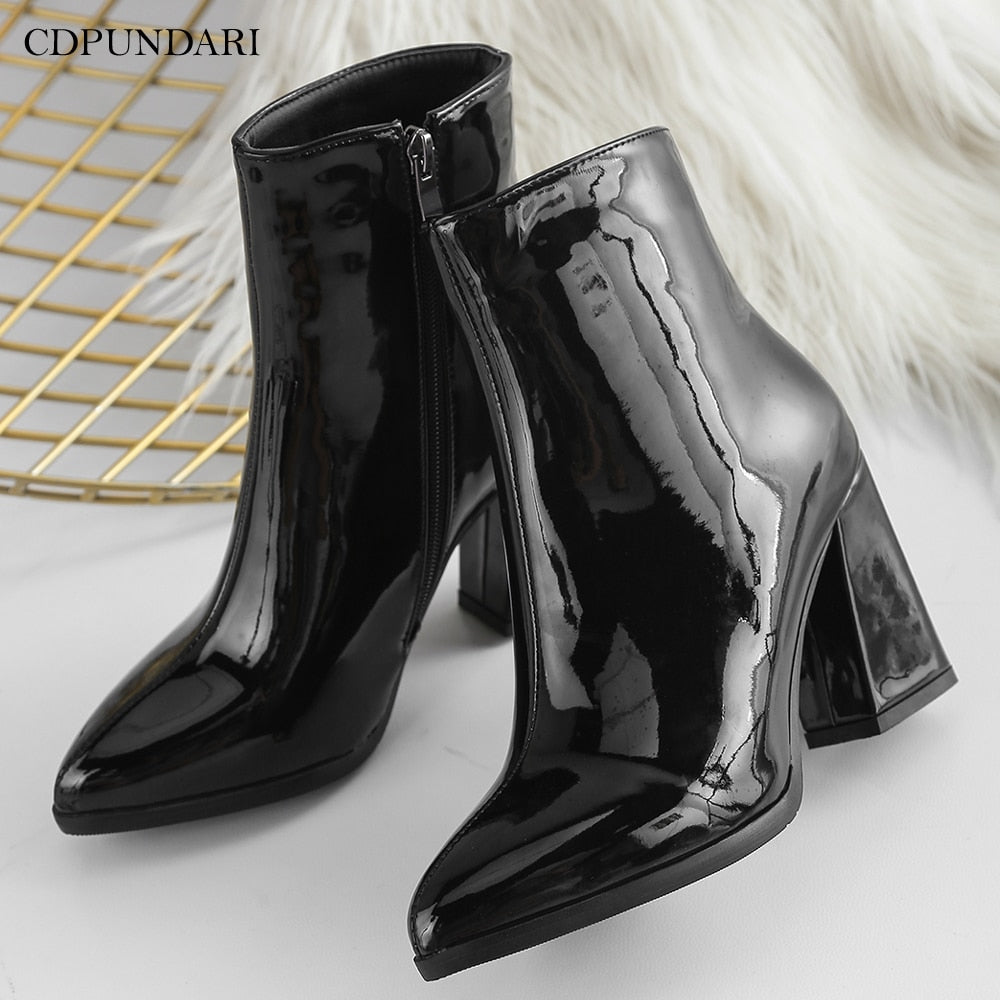 habazoo - Silver Black Sexy Ankle boots for Women High heels boots Ladies Winter shoes woman Gold bottines pour les femmes escarpins sexy hauts talons - Habazoo -