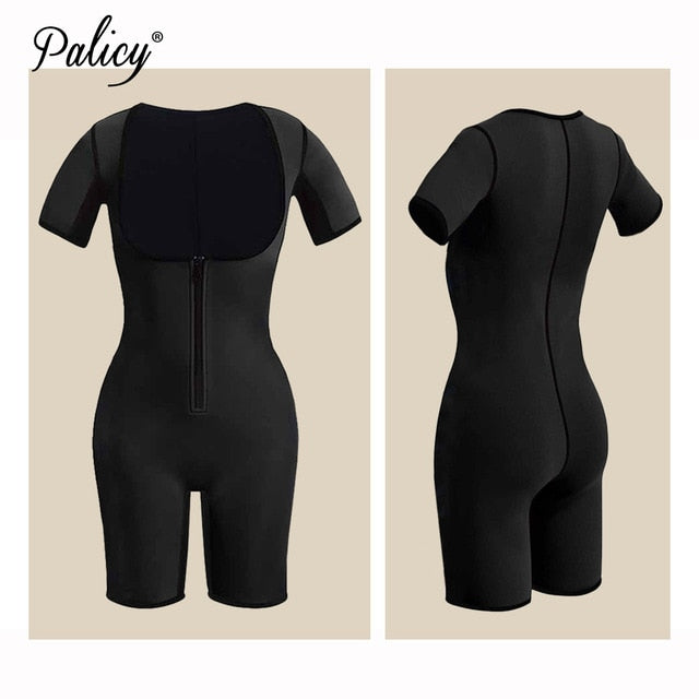 habazoo - Slimming Full Body Shapewear Neoprene Body Shaper Short Sleeve Bodysuit Girdles Waist Cincher Sauna Suit Sweat Trimmer Plus Size - Habazoo -