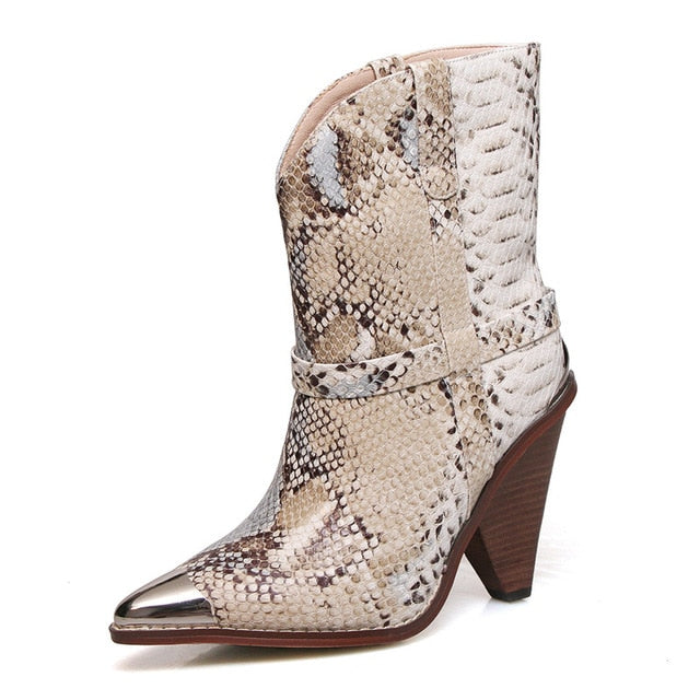 Snake Pattern Runway Mid-calf Boots Women Metal Pointed Toe Rivets Slip-On Spike High Heels Punk Wedge Cowboy Boots For Women