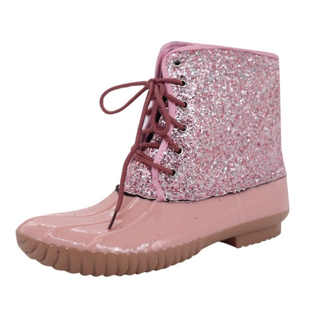 habazoo - Sparkling Glitter Boots Women Casual Waterproof Lace-up Round Toe Waterproof Ankle Snow Boots ladies Shoes botas feminina - Habazoo -