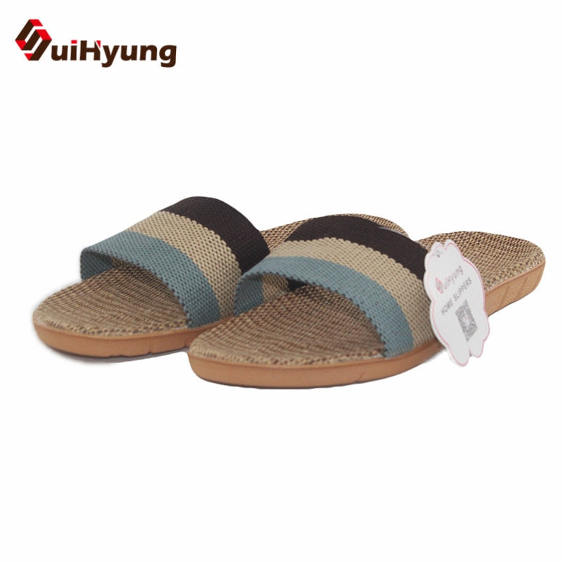 habazoo - Suihyung Summer Flax Slippers Rainbow Color Flip Flops Women Men Linen Indoor Floor Shoes Casual Flat Sandals pantoufles femmes - Habazoo -
