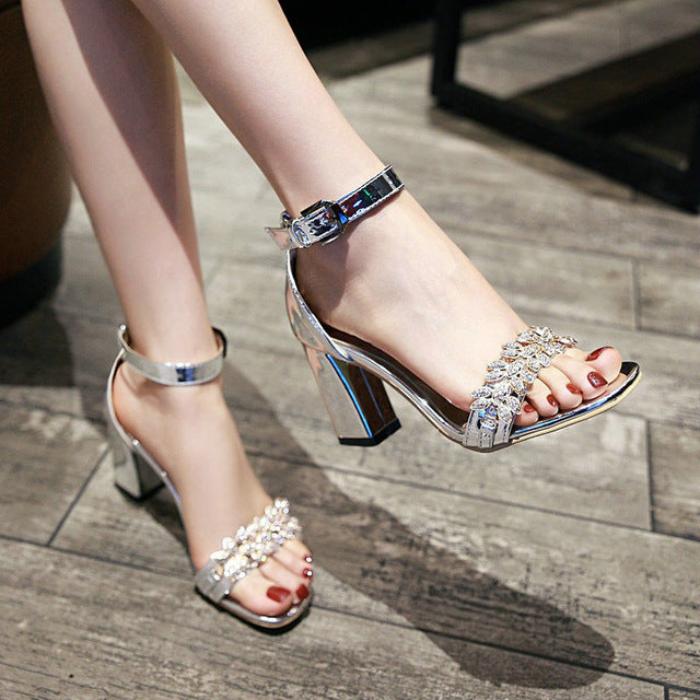 habazoo - Summer Ankle Strap Thick High Heel With Buckle Sandals Fashion Crystal Open Toe Dress Women Shoes Gold Silver Brown - Habazoo -
