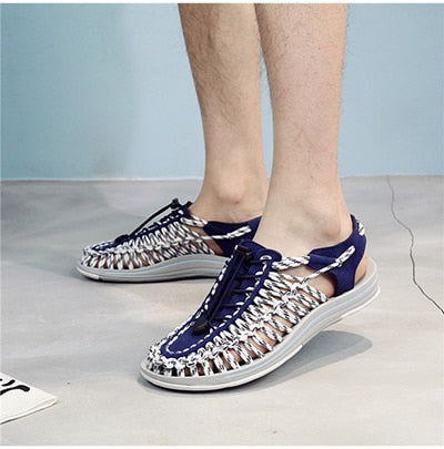 Summer New Men's Beach Shoes Couple Weaving Sandals Men's Flips Flops Outdoor Men's Casual Shoes Roman Sandals For Men and Women - Habazoo