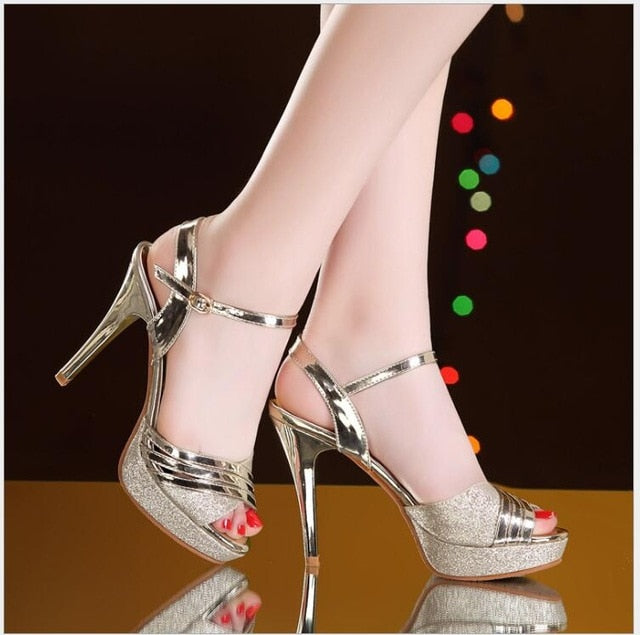 habazoo - Summer Sandals Shoes Sexy Super Thin High Heels Woman's Hollow Out Sandals Sexy Gold Open Toe Platform Female Party Shoes - Habazoo -