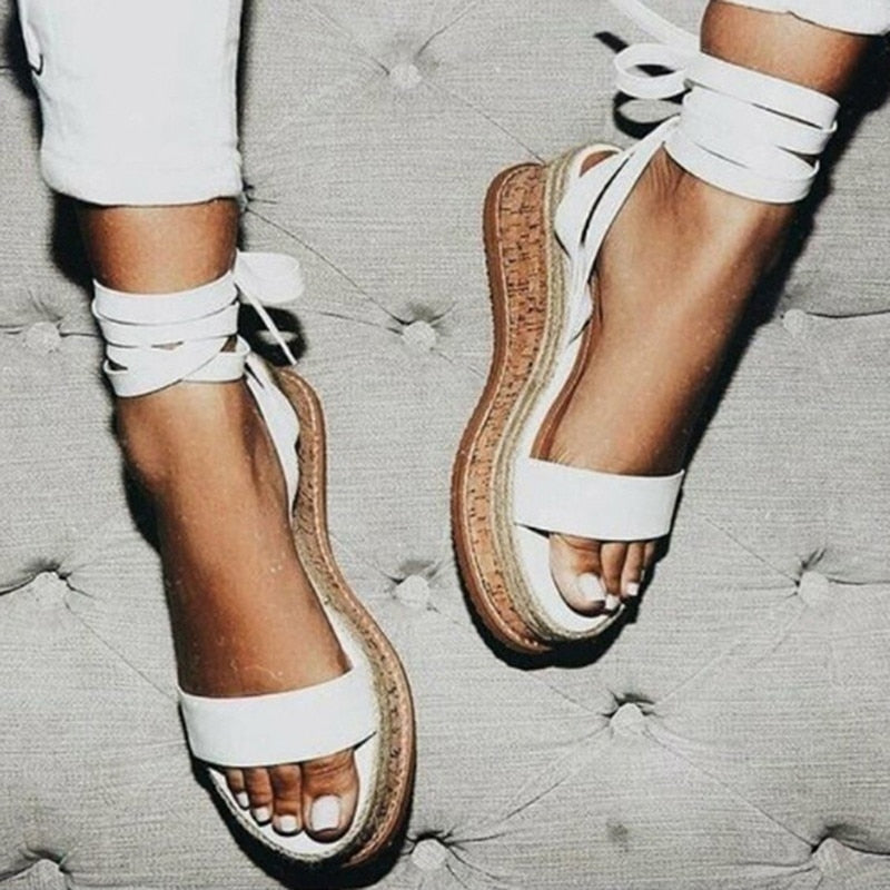habazoo - Summer White Wedge Espadrilles Women Sandals Open Toe Gladiator Sandals - Habazoo -