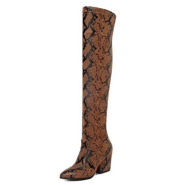 TAOFFEN Sexy Pointed Toe Shoes Winter Women Long Boots Fashion Snakeskin PU Leather Over The Knee Boots Women Size 34-43