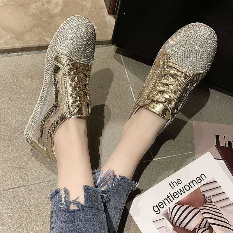 habazoo - Tangnest New Loafers Women Platform Flats Faux Rhinestone Sneakers Lace-up Silver Solid Creepers Mujer Casual Flat Shoes XWD7708 - Habazoo -