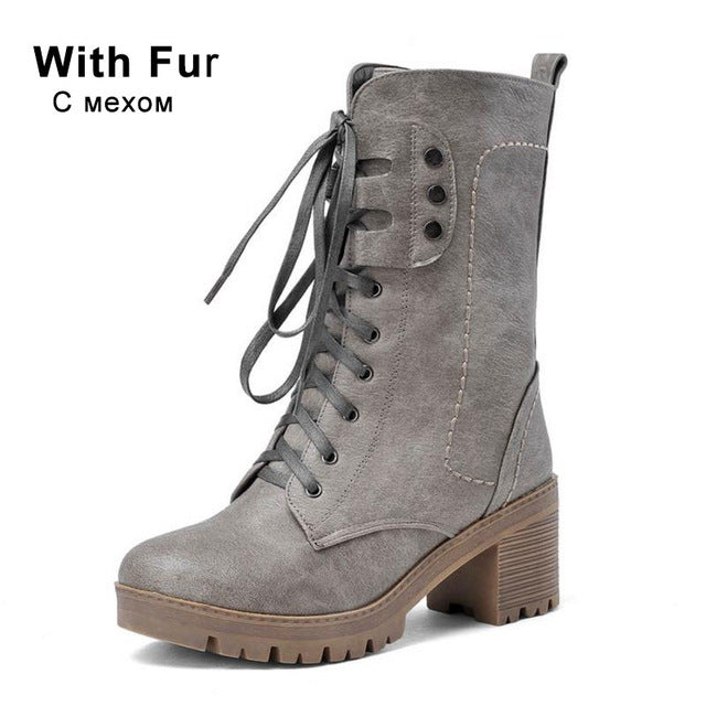 Taoffen 4 Colors Size 34-43 Women Half Short Boots High Heel Boots Cross Strap Warm Shoes Motorcycle Botas For Women Footwear