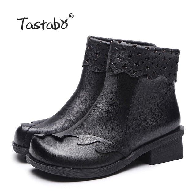 habazoo - Genuine Leather Boots Women Soft 2018 Autumn Fashion Black Shoes Woman Square High Heels Boots for Women - Habazoo -