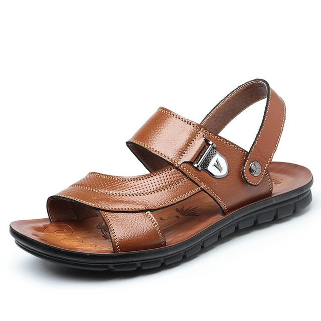 Summer BeachMen Sandals For Male Genuine Leather Casual Mature New Classic Walking Sandal - Habazoo