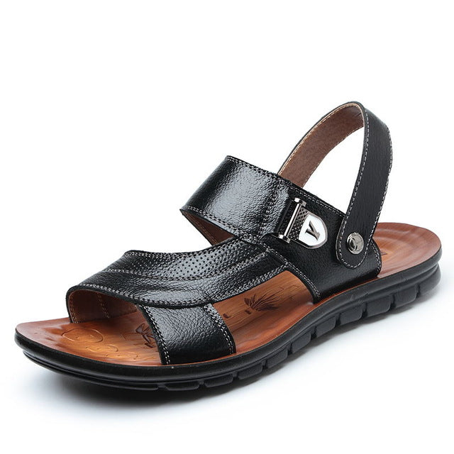 Summer BeachMen Sandals For Male Genuine Leather Casual Mature New Classic Walking Sandal