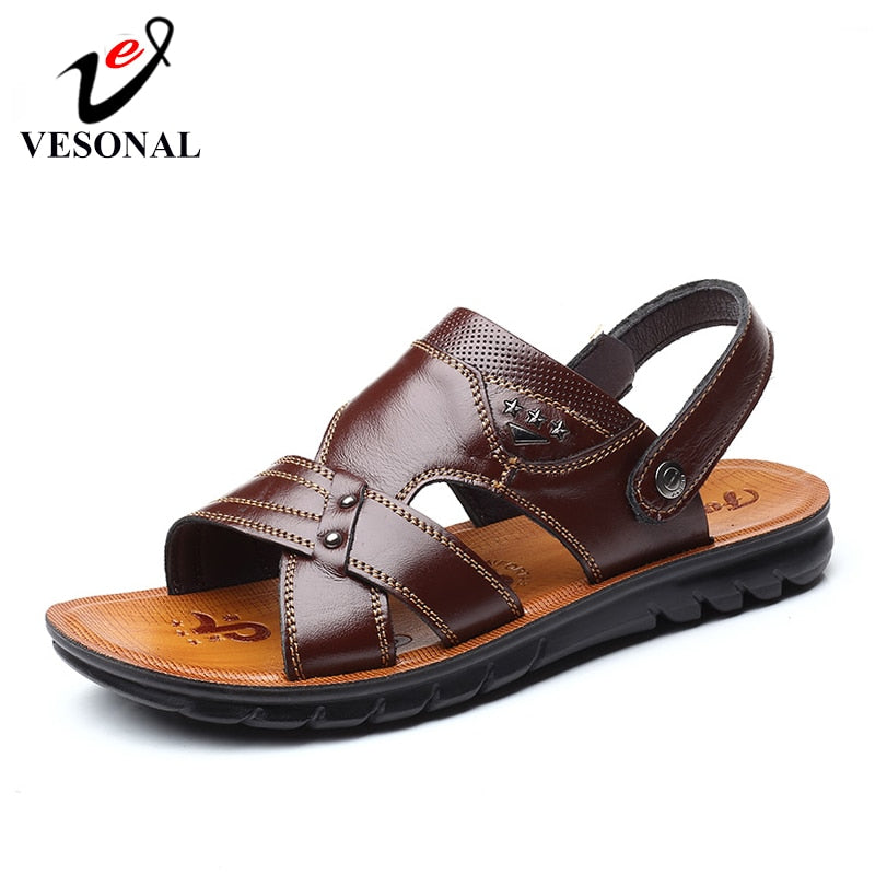 habazoo - Summer BeachMen Sandals For Male Genuine Leather Casual Mature New Classic Walking Sandal - Habazoo -