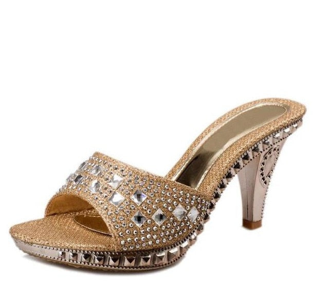 habazoo - VTOTA Female Slippers High Heel Sandals Platform 2017 Rhinestone Sandalias Mujer Sapato Feminino Women Shoes Slippers Women R43 - Habazoo -
