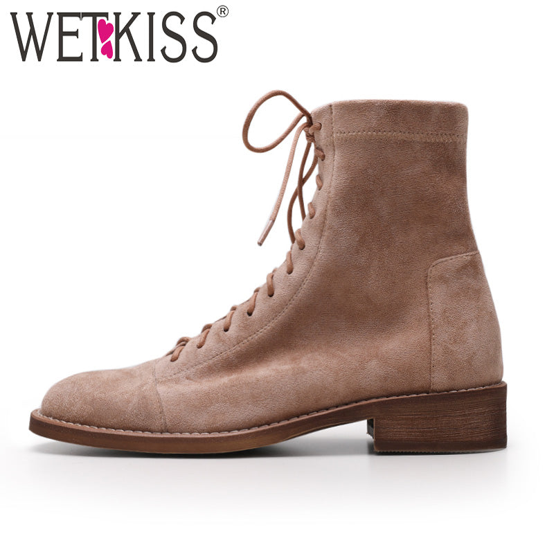WETKISS Autumn Low Heels Women Ankle Boots Round Toe Lace Up Footwear Stretch Fur Suede Female Boots Motorcycle Shoes Woman 2020