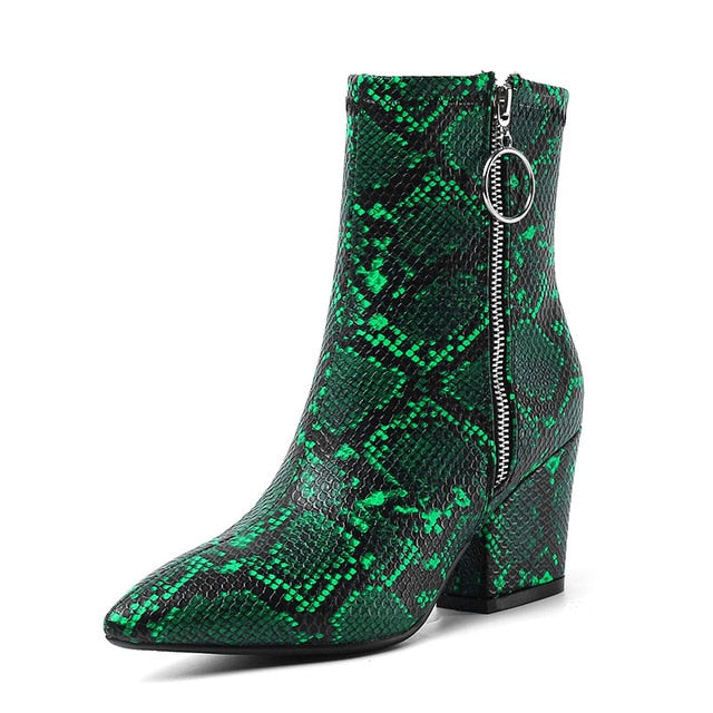 WETKISS Colorful Snake Skin Pu Ankle Boots Women High Heels Booties Female Party Shoes Ladies Pointed Toe Shoes Women Winter