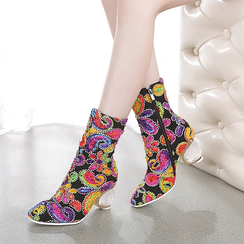 WETKISS Print Colorful Ankle Boots Women Wedding Boots Woman Luxury Strange Style Shoes Female High Heels Shoes Ladies Winter