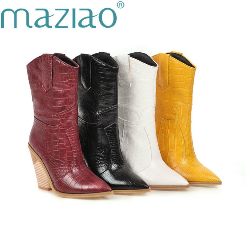 White Black Yellow Faux Leather Cowboy Ankle Boots for Women Wedge High Heel Boots chunky Snake Print Western Cowgirl Boots