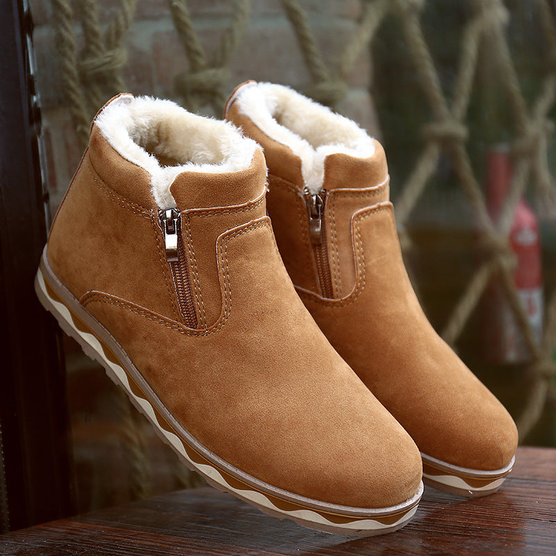 habazoo - Winter new warm snow boots men's casual Korean fashion comfortable round head zipper men's shoes 2019 - Habazoo -