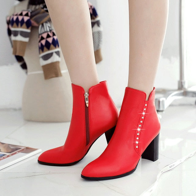habazoo - Women Boots Side Zipper Thick High Heel Ankle Boots Sexy Pointed Toe Autumn Winter Fashion Shoes Woman 2018 Black White Red - Habazoo -