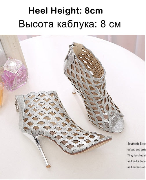 habazoo - Women Boots Summer Shoes High Heels Open Toes Woman Wedding Shoes Platform Gold Silver Ankle Boots Female Sandals Plus Size DE - Habazoo -