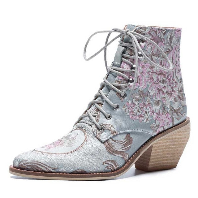Women Casual Stacked High Heels Embroidery Flower Lace Up Ankle Boots Shoes Female Ladies Ankle Booties Silk Satin Footwear Boot