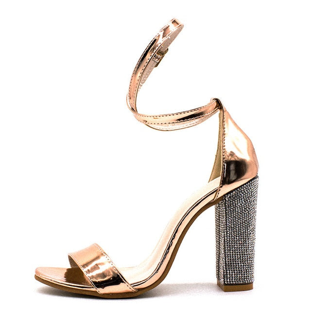 habazoo - Women Open Toe Strappy Ankle Strap Gold Sandals Crystal Transparent Clear Block Thick High Heel Sequined Shoes Woman Plus Size - Habazoo -