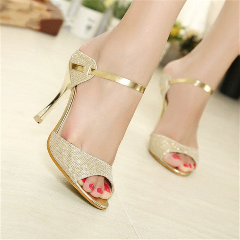 habazoo - Women Pumps Thin Heels Ladies Sandals Women Middle Heels Peep Toe High Heel Pumps Women Shoes Female Wedding Shoes Gold Silver - Habazoo -