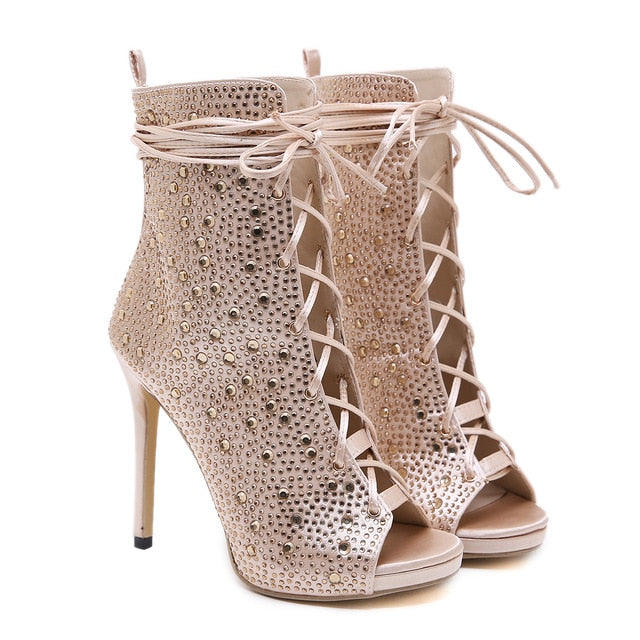 habazoo - Women Sandals High Heeled Rhinestone Shoes Open Toe Gold Lace Up Gladiator Sandal Party Evening Shoes Fashion Pumps Summer Boots - Habazoo -