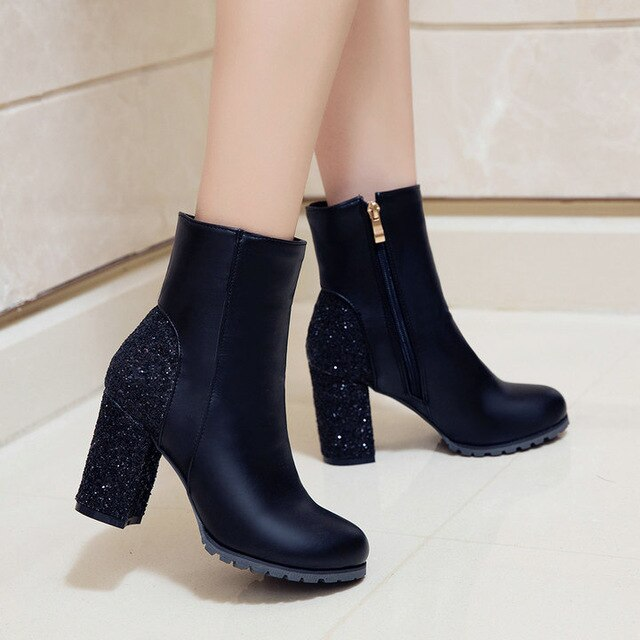 Women Shoes Fashion Pu Sequin Ankle Boots Thick High Heels Zipper Round Toe Autumn Winter Shoes Woman Red Black Gold Silver 2018