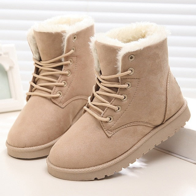 Women Boots Winter Warm Snow Boots Women  Lace Up Fur Ankle Boots Ladies Winter Shoes Black