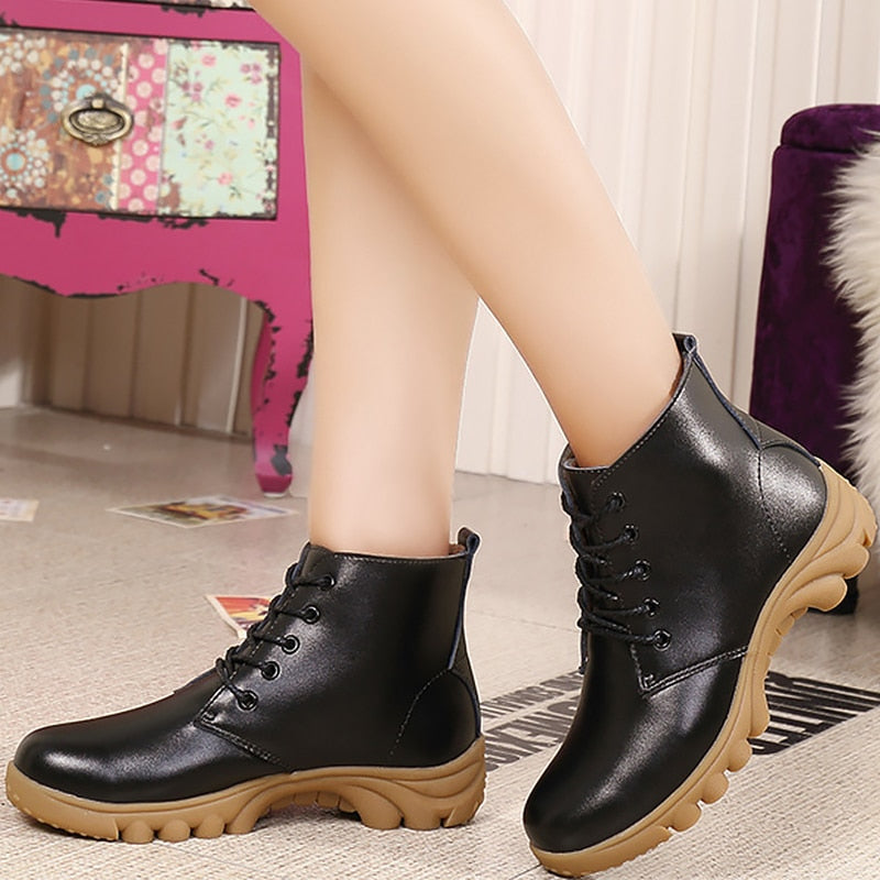 Women's Boots Genuine Leather Fashion Lace Up Women Ankle Boots With Platform Rubber Warm Winter Boots Women Solid
