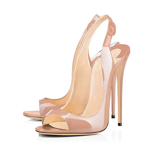 habazoo - Women's Peep Toe Thin High Heels Pumps Sandals Gold Ladies Shoes 12cm Heels open toe fashion female heel shoes Plus size US5~15 - Habazoo -