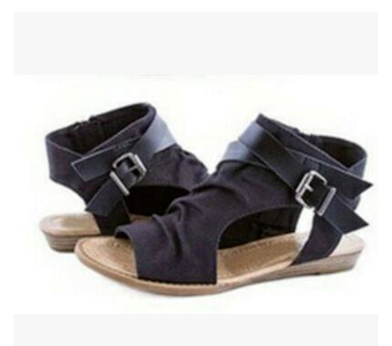 habazoo - new summer high quality denim fashion buckle gladiator flat Denim sandals for women - Habazoo -