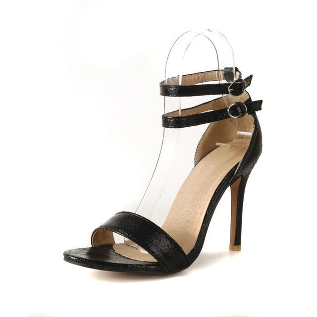 habazoo - New 32-46 Sexy Design Women Buckle Thin High Heels Black Sliver Gold Open Toe Dress Sandals Party Wedding Shoes Woman - Habazoo -
